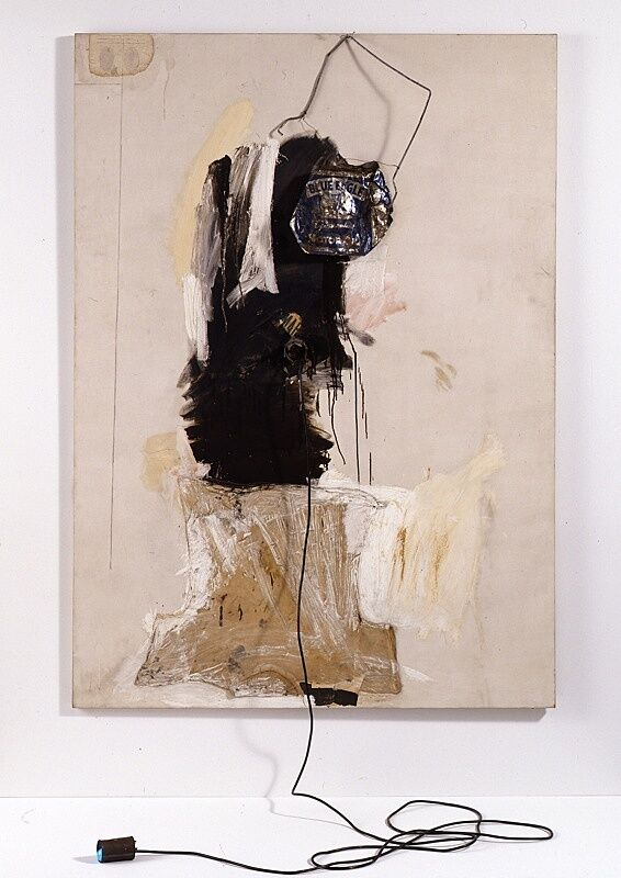 Abstract mixed media art by Robert Rauschenberg.