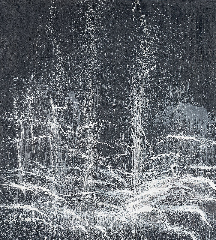 Abstract art of a waterfall by Pat Steir.
