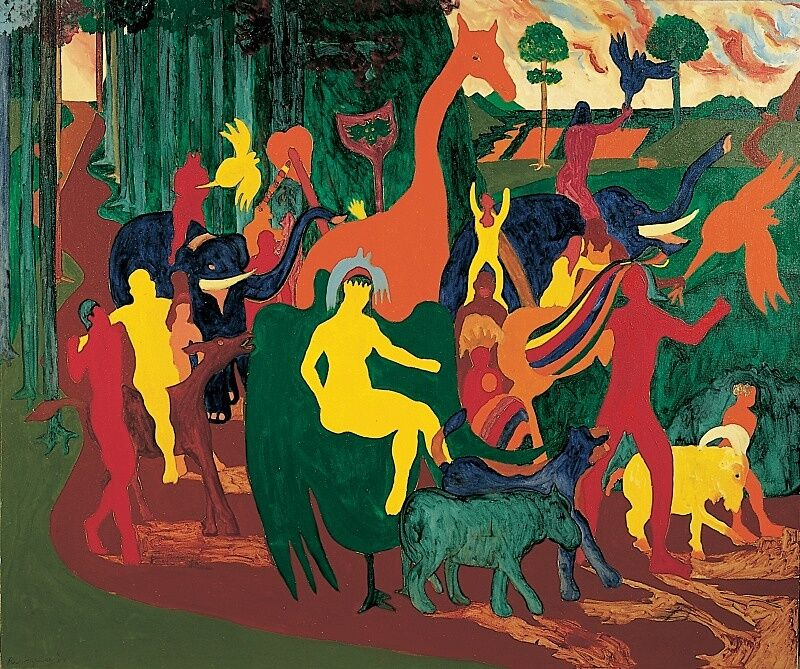 Colorful depiction of people and animals by Bob Thompson.