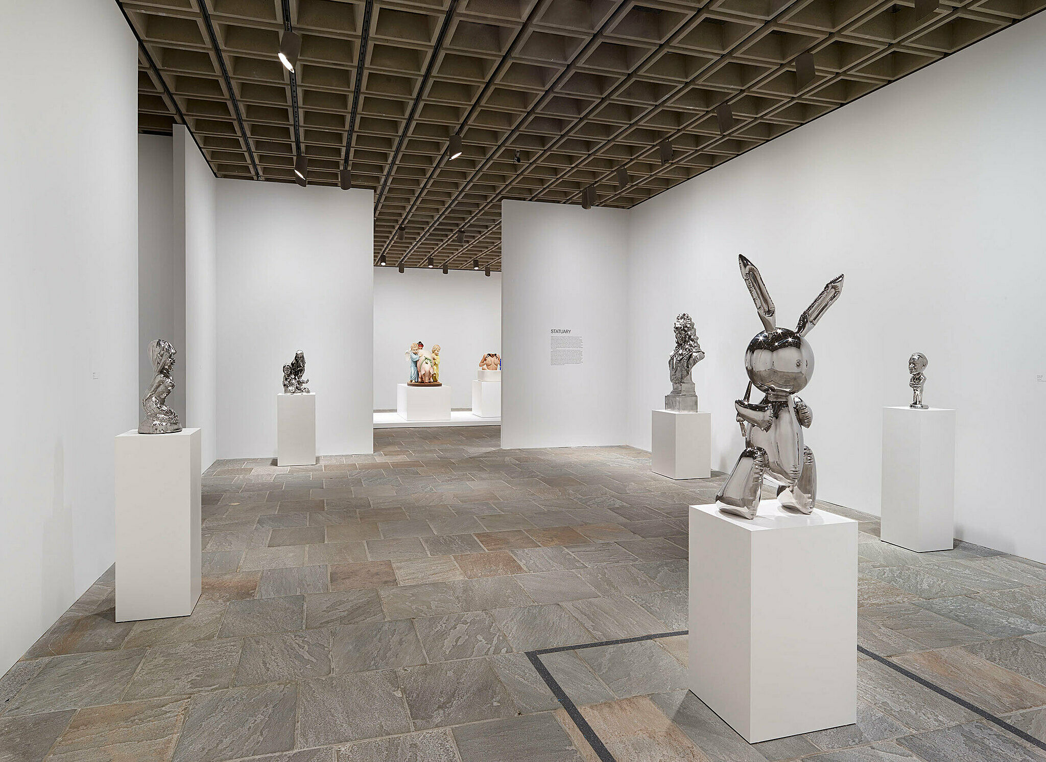 View of gallery from behind the rabbit statue.