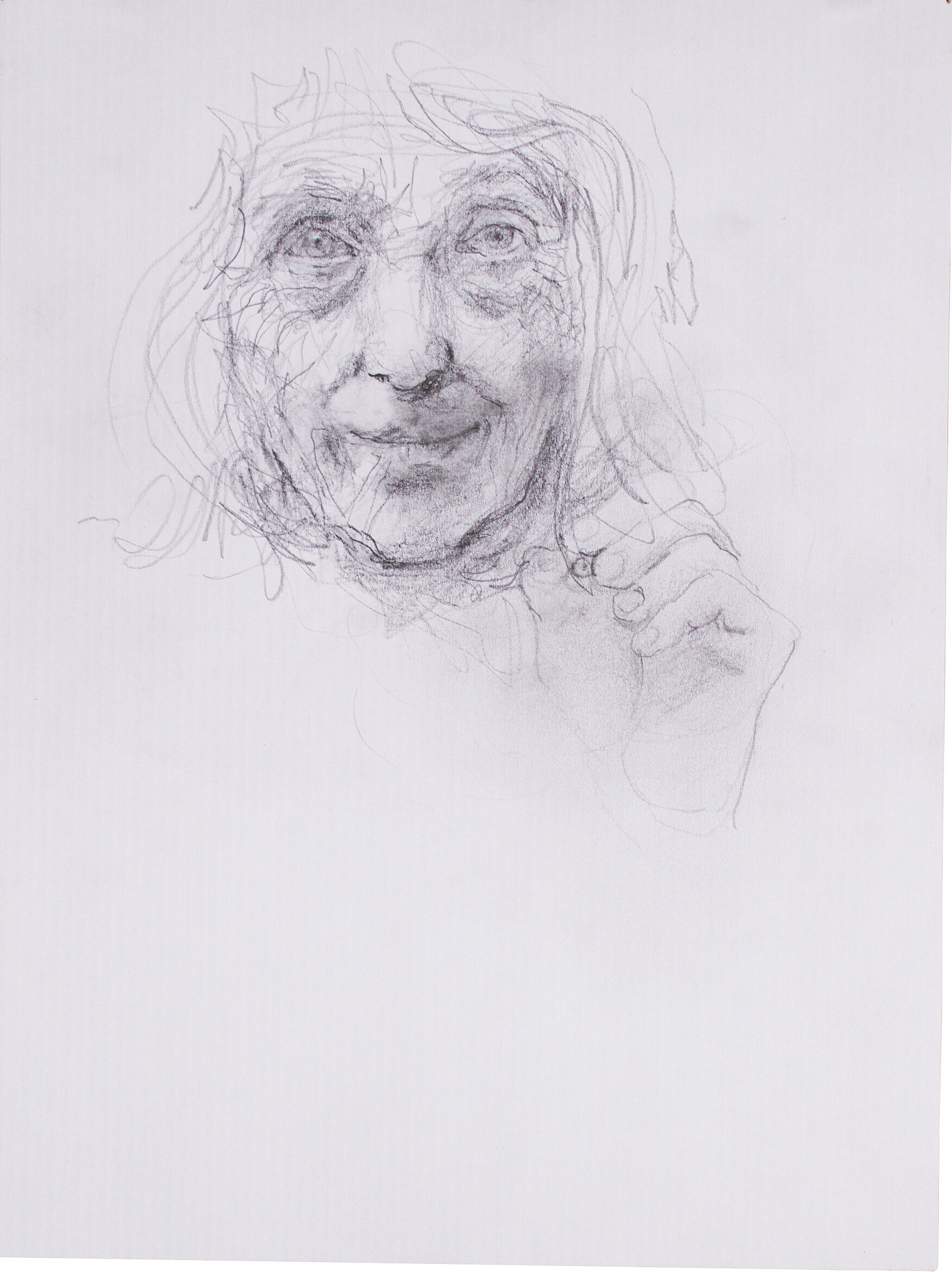 Pencil drawing of an older woman's face and hand.