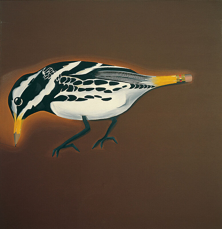 Painting of a bird with a pencil beak and eraser tail.