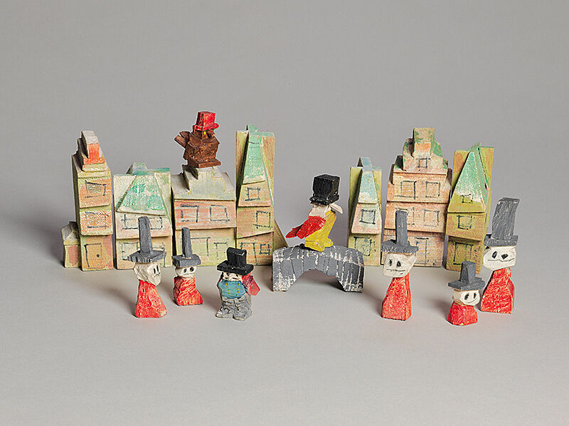 Cutouts of houses and people.