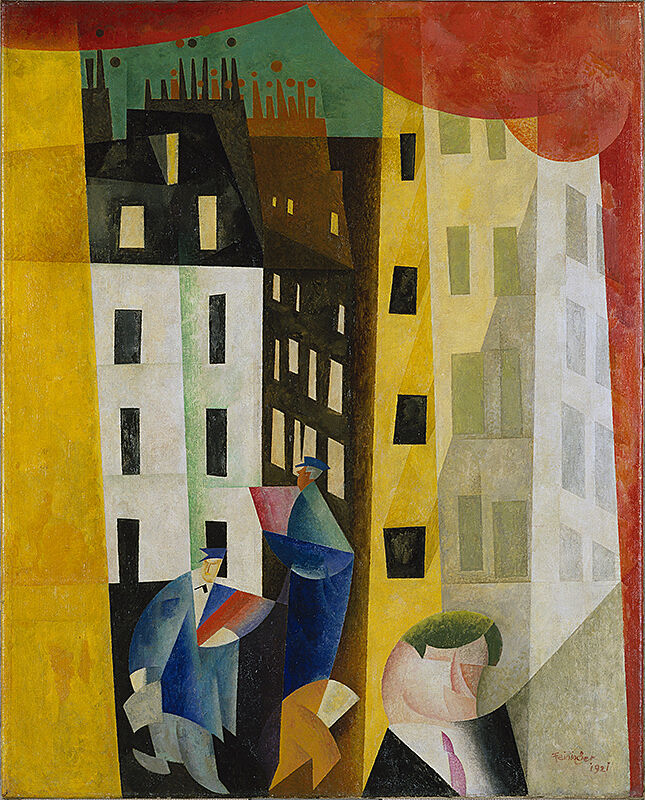 A cityscape painted of buildings and people walking.
