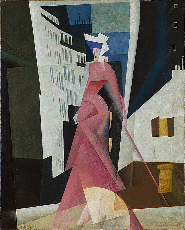 A woman in a pink dress with an abstract cityscape behind it.