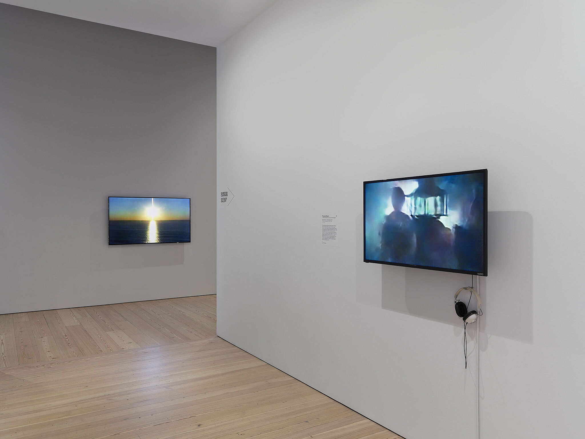 Two flat-screen televisions show video art in a gallery with white walls.
