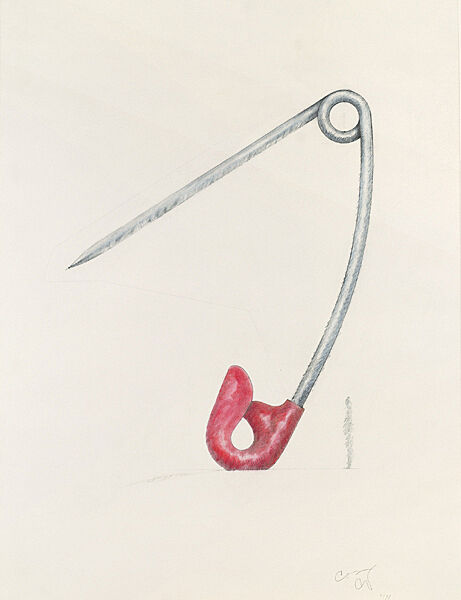 Drawing of a safety pin turned upside down