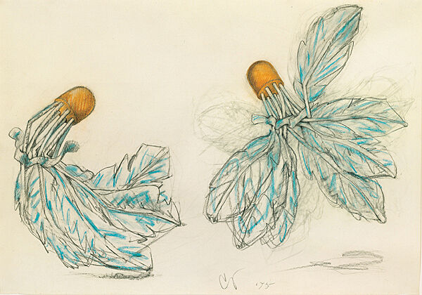 Sketch of two shuttlecocks in blue and orange.