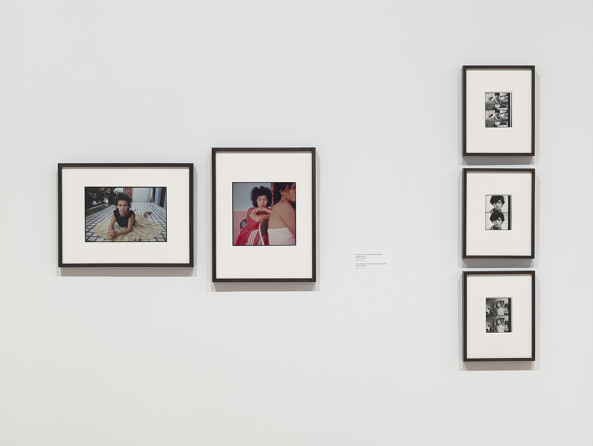 Five photos by Danny Lyon on the wall of a gallery.