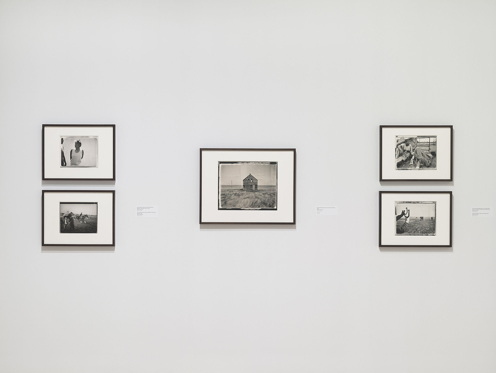 A series of five photos on the wall of the works of Danny Lyon.