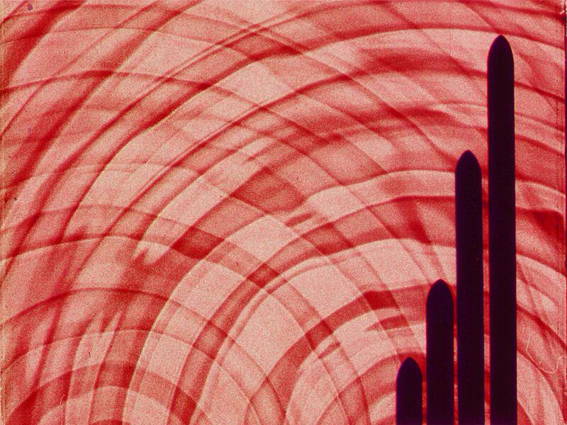 Red background swirls with black pillars.