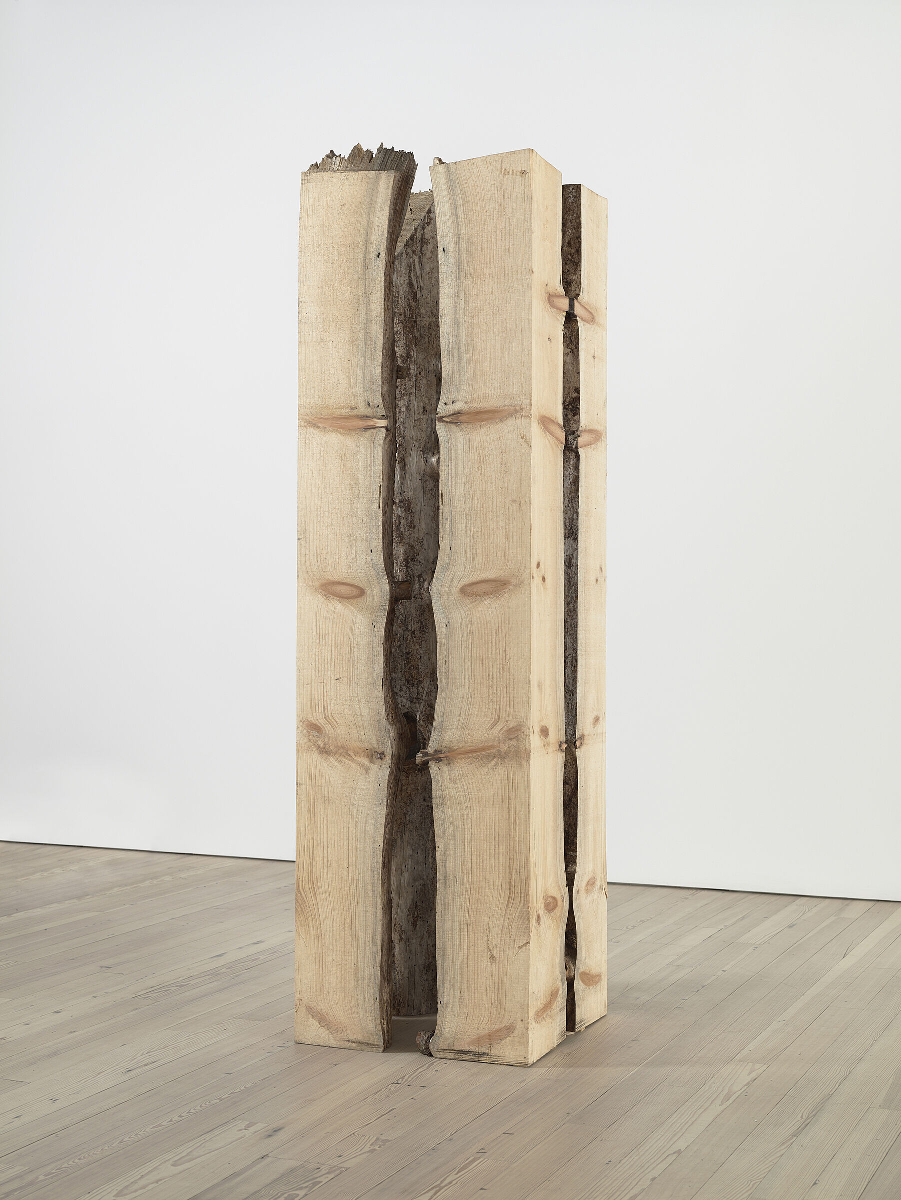 A wooden sculpture by Virginia Overton at the Whitney Museum.