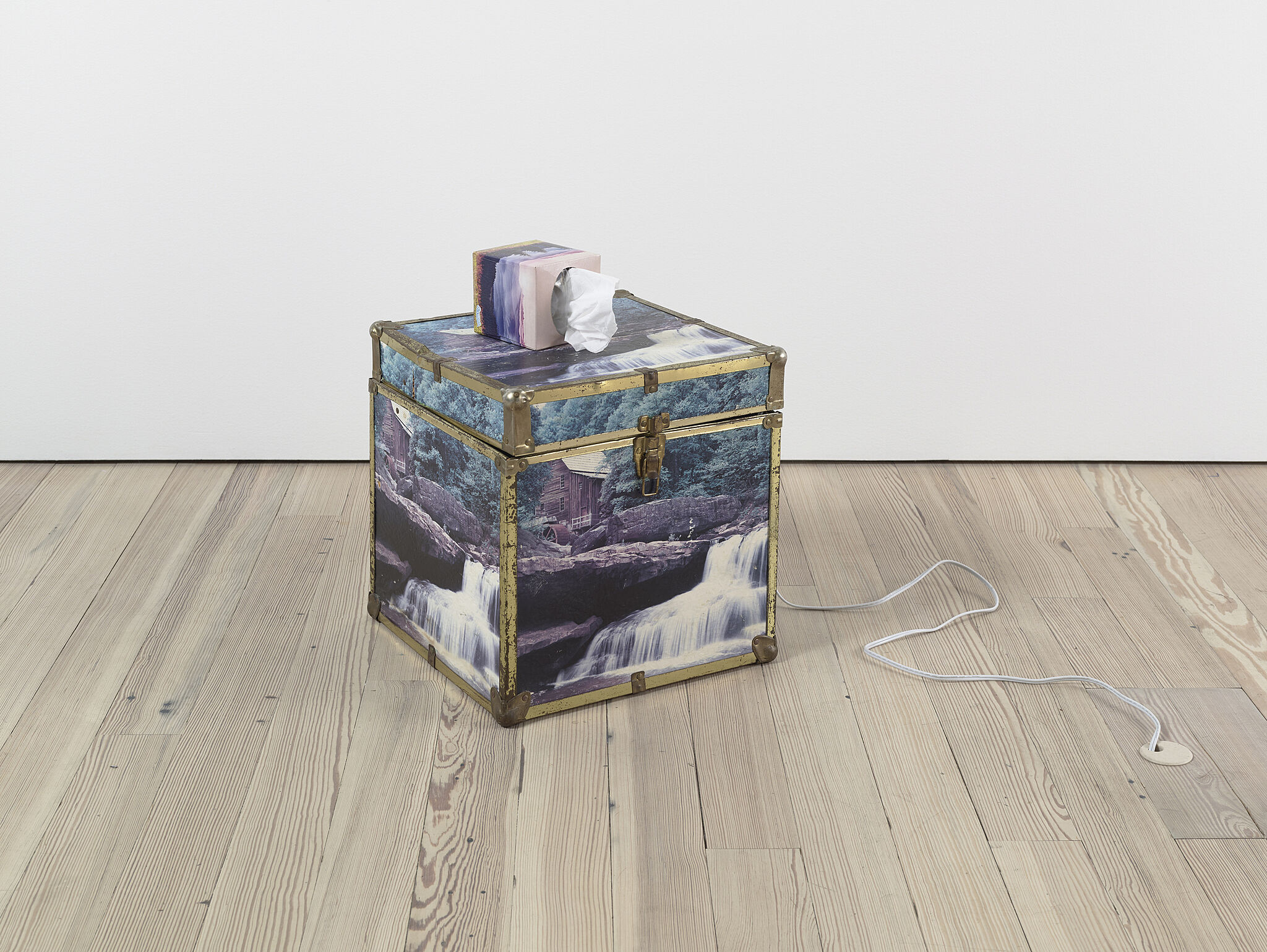 A box of tissues on top of a trunk with an image of a waterfall on it.