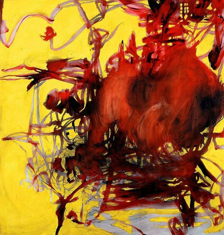 Yellow, red and black abstract artwork by Charline von Heyl.