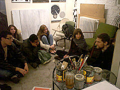 Artist sits down with teens in her studio.