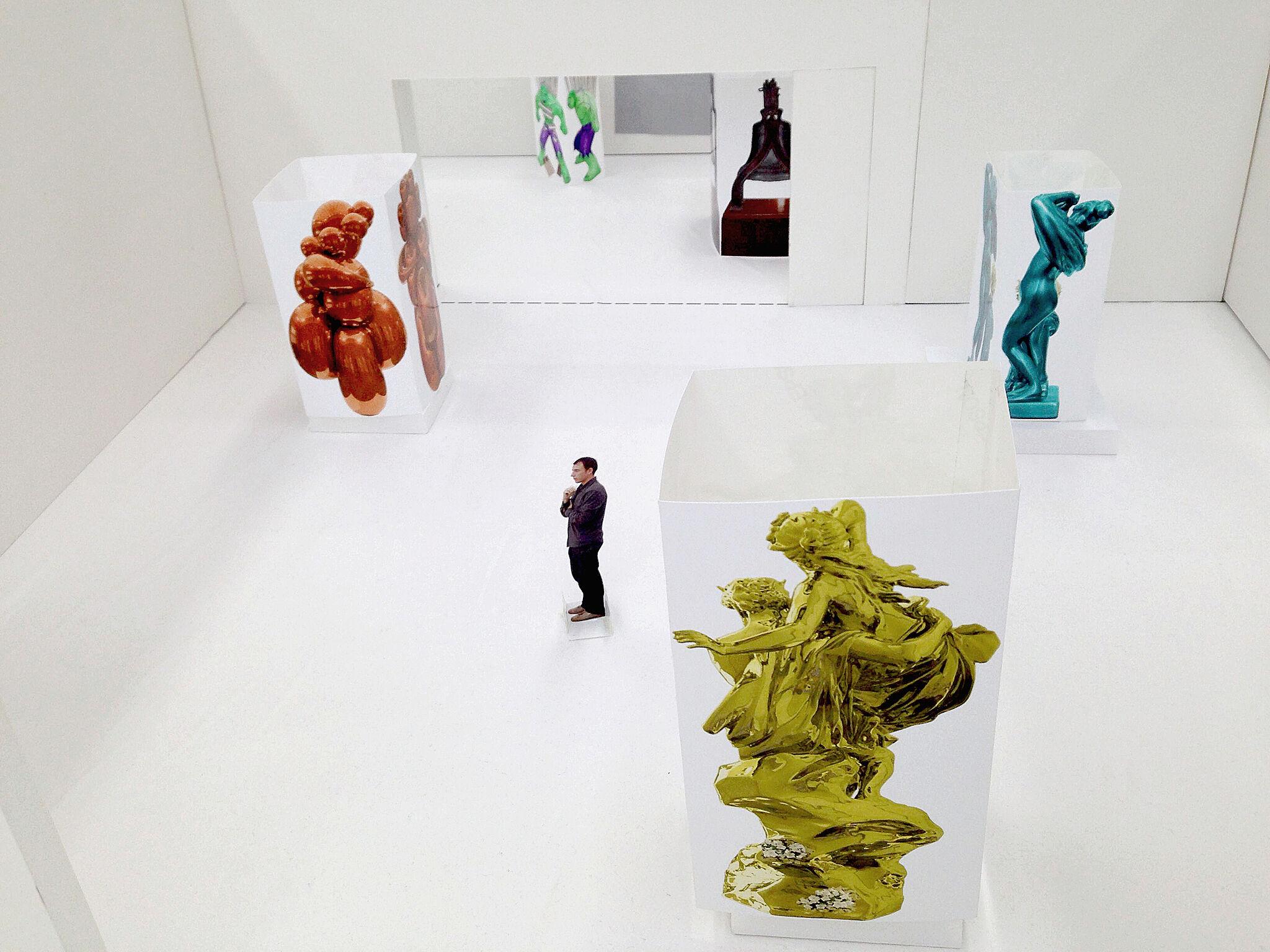 Model plan of Jeff Koons exhibit.