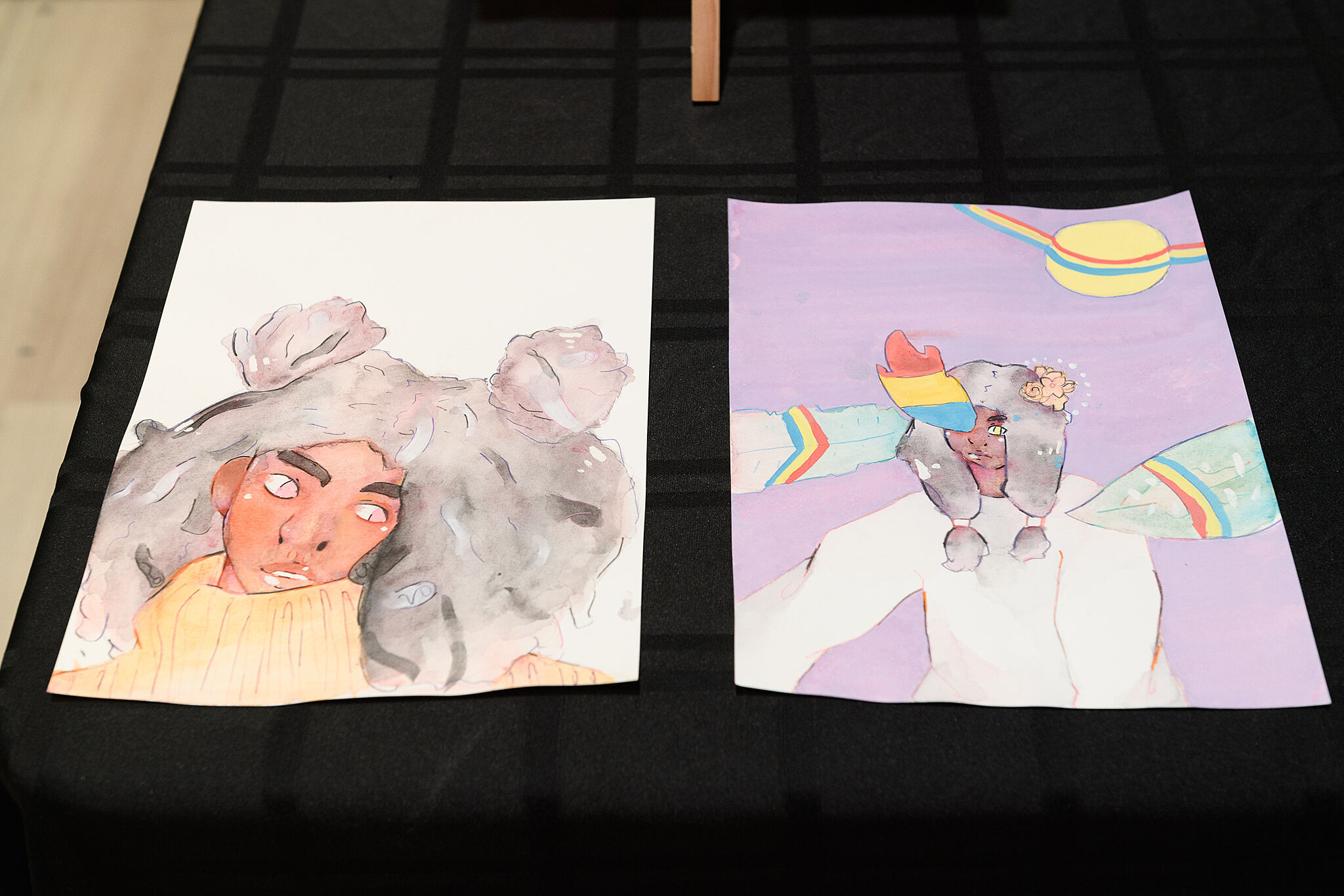Two paintings of a person in a unique hat.