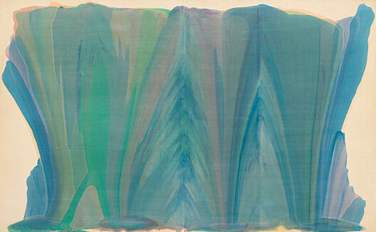 Abstract painting in greens and blues