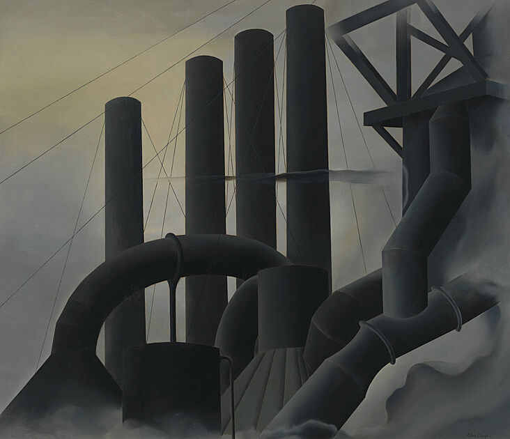Close up view of smokestacks