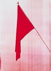 A red-tinted screenprint of a red flag by Reena Spaulings.