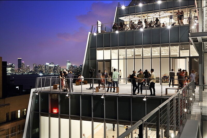 View of the Whitney's terrace at night.