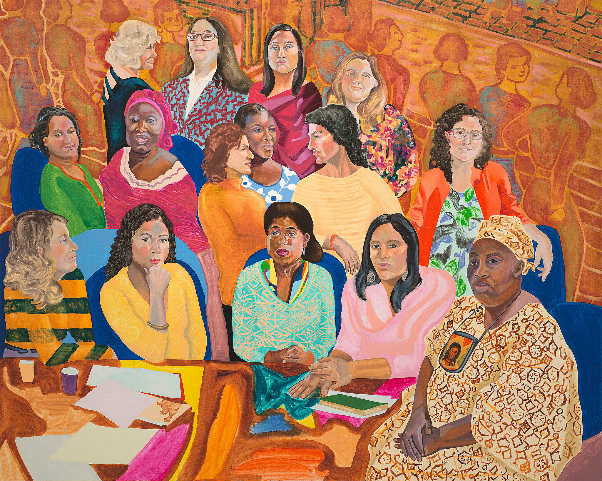 A painting of a group of women.