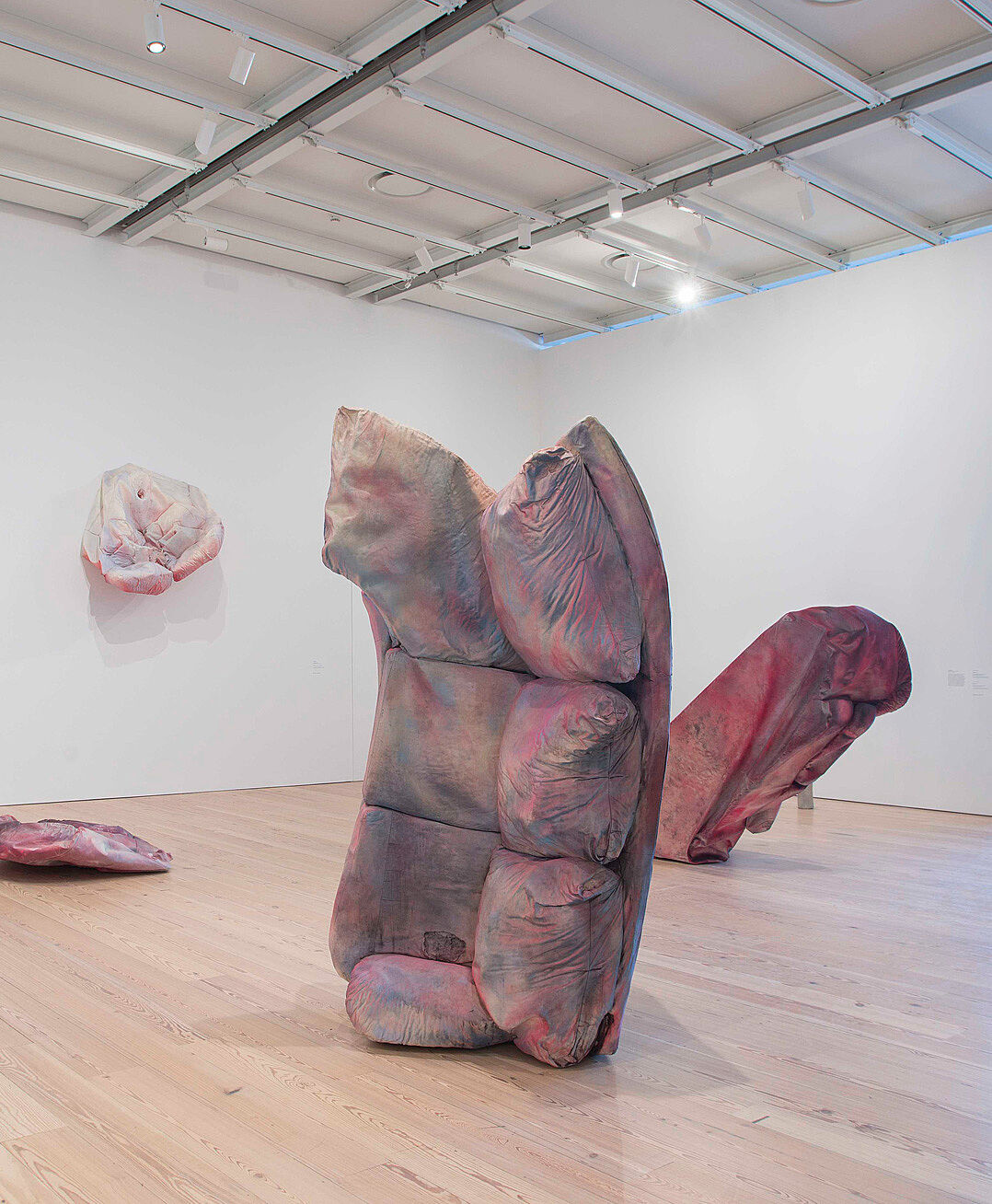 Abstract pink sculptures hanging in a corner