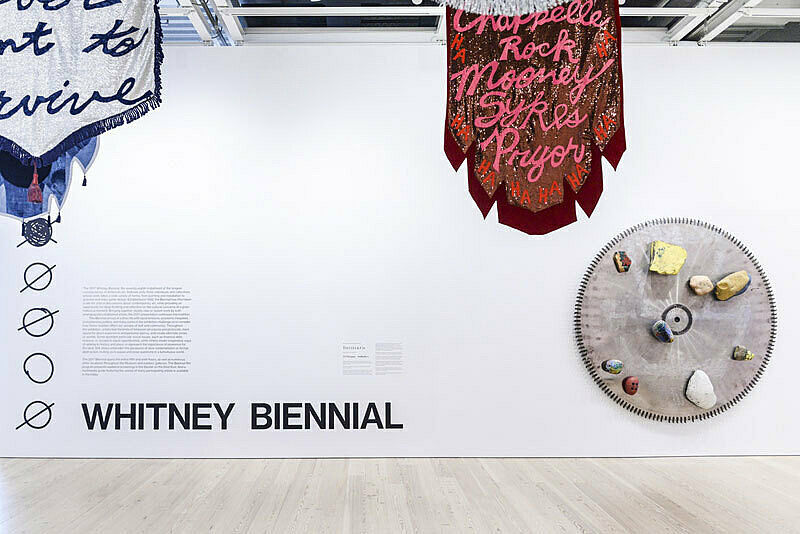 Artworks installed in the galleries as part of the 2017 Whitney Biennial.