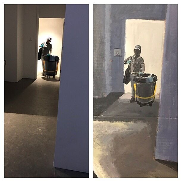 Photograph of a janitorial worker emerging from a doorway on the left, with a painting of the photograph on the right.