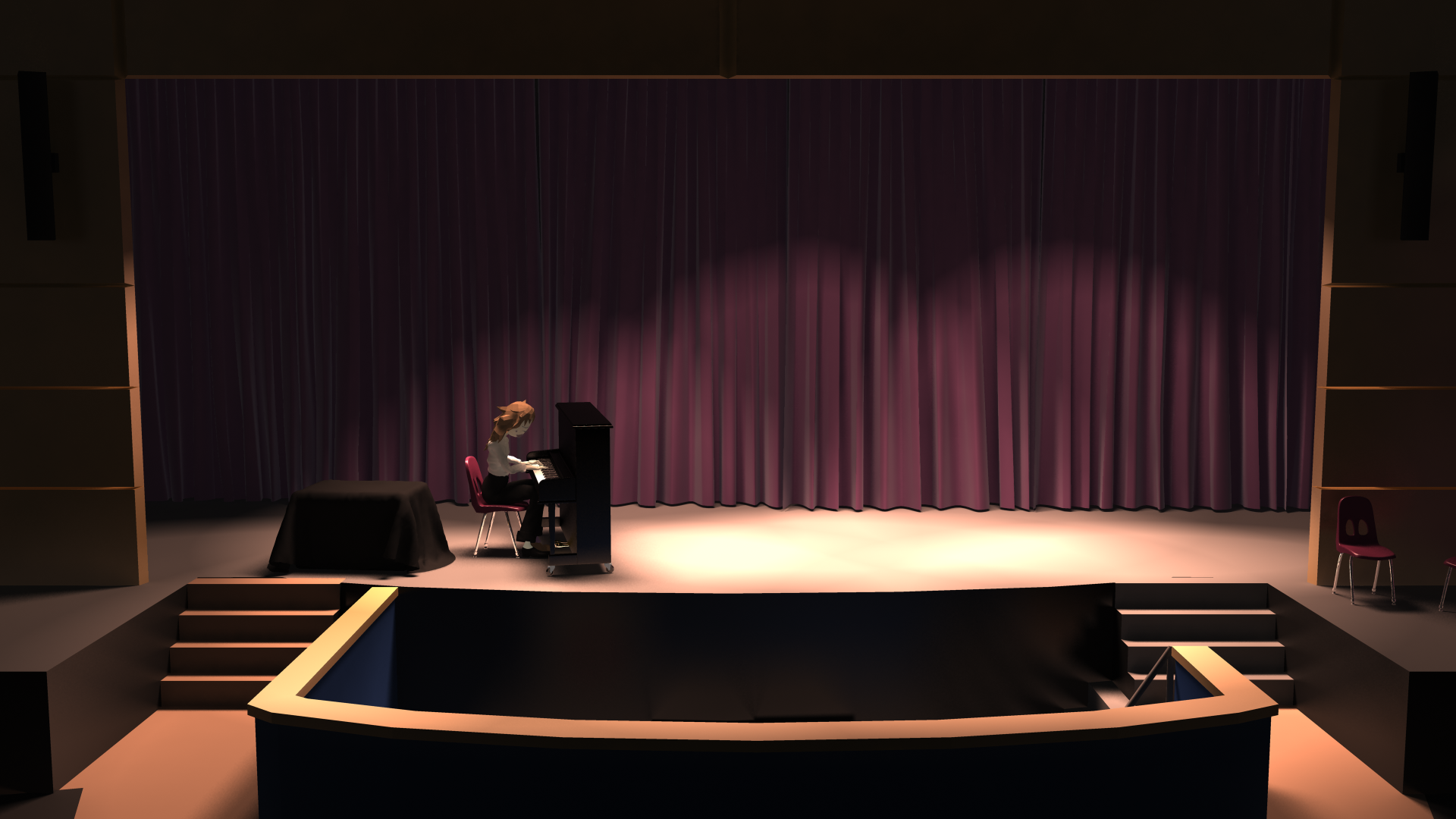 Digital image of a dark theater with a piano on stage.