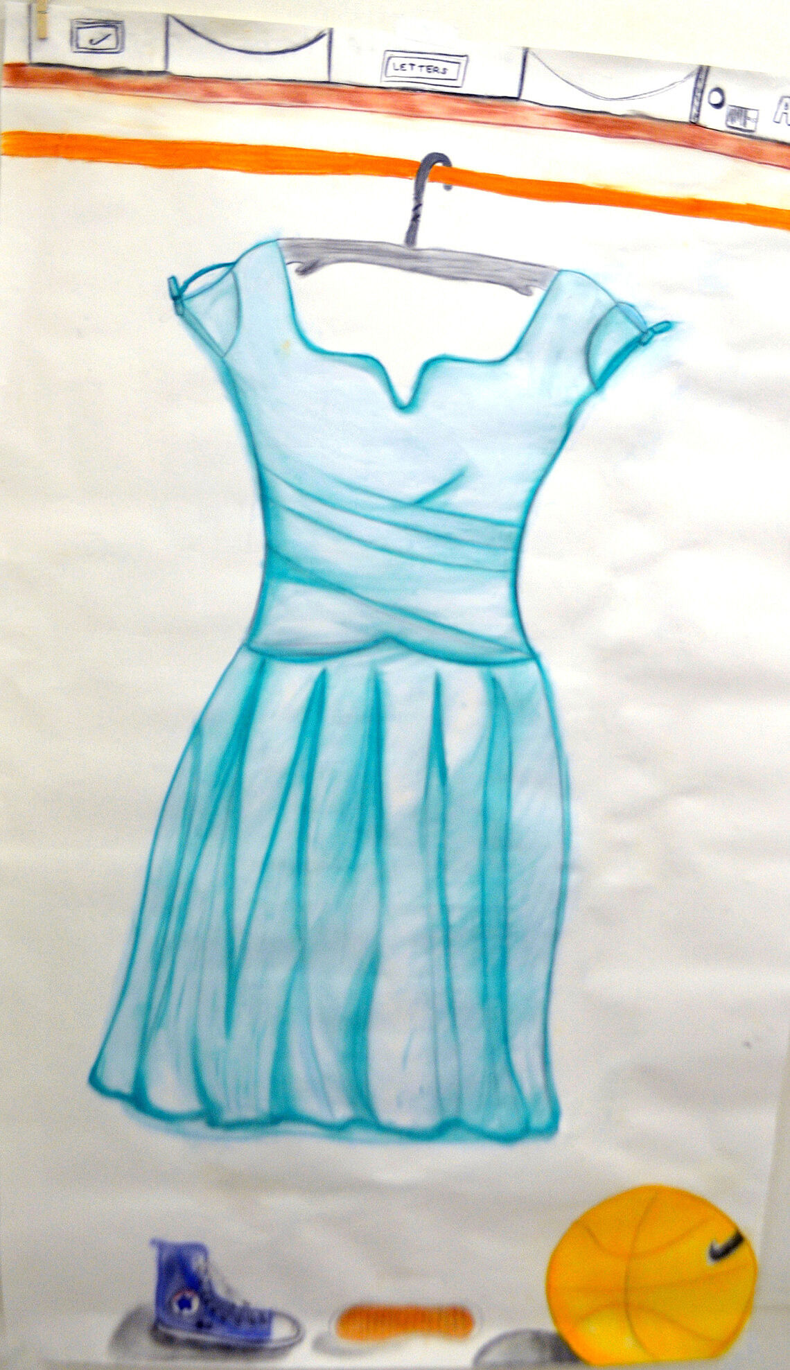 A drawing of a blue dress hanging on rack.
