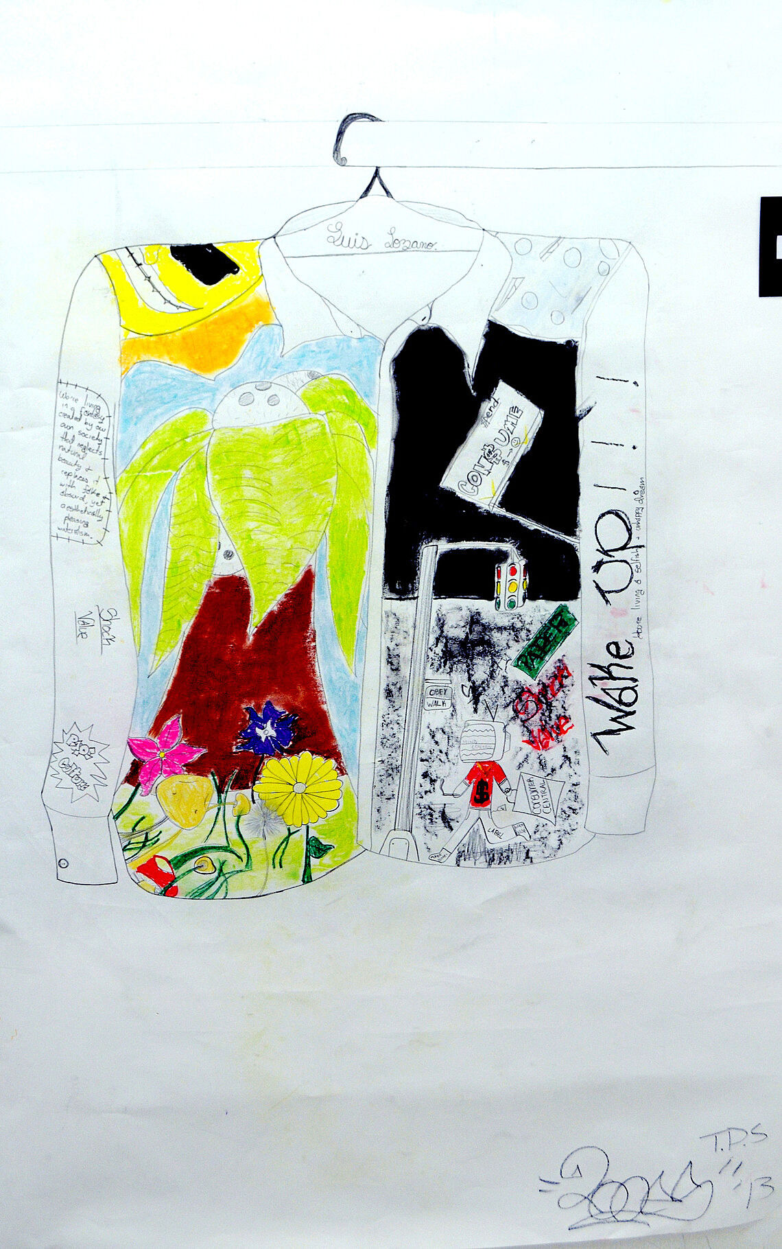 A drawing of a jacket with artwork on it.
