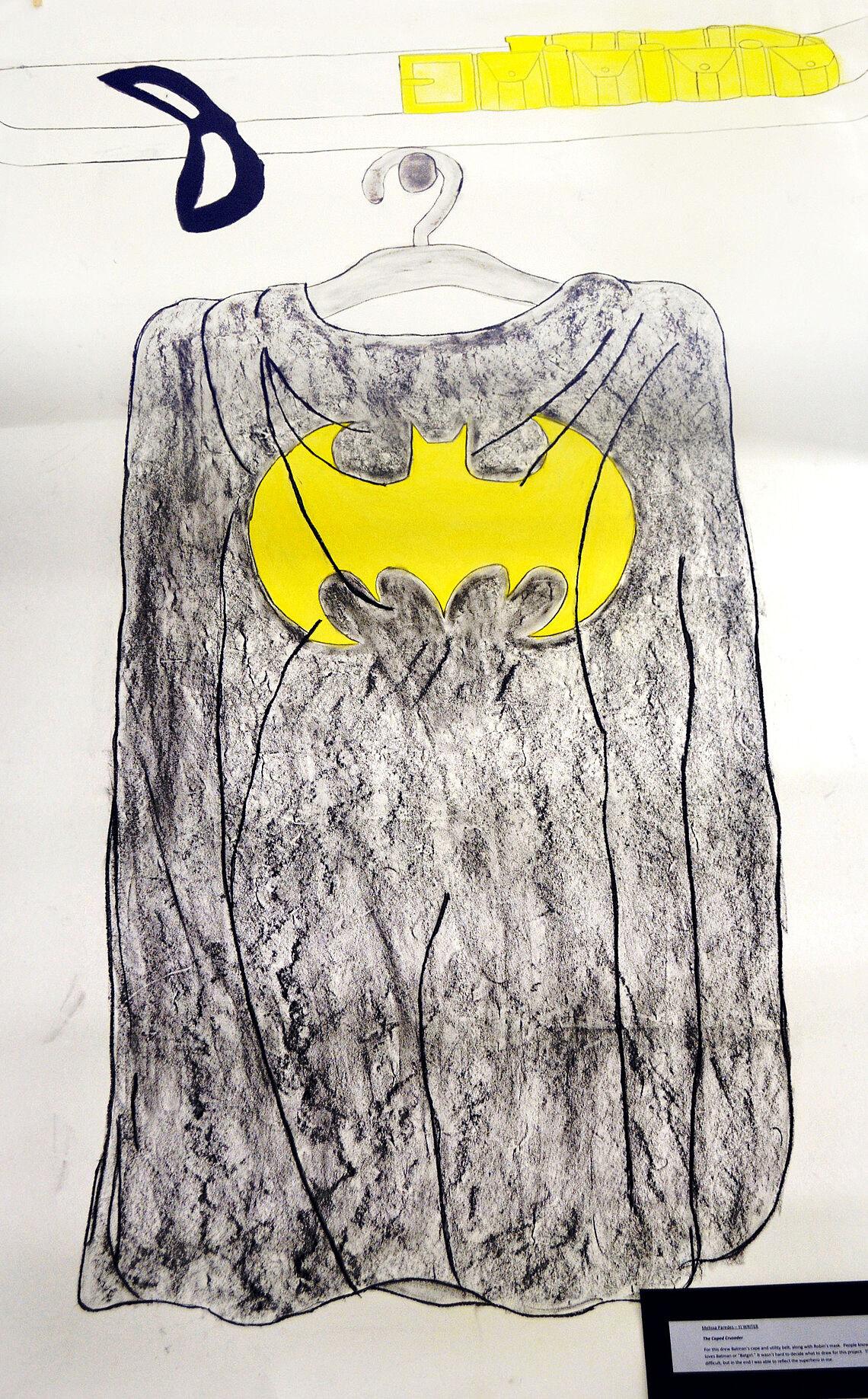 Drawing of a Batman costume.