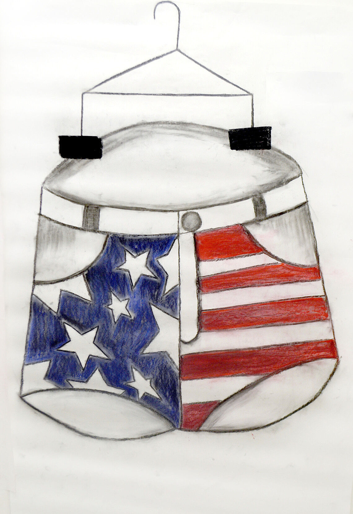 Drawing of a pair of shorts with an American flag on it.