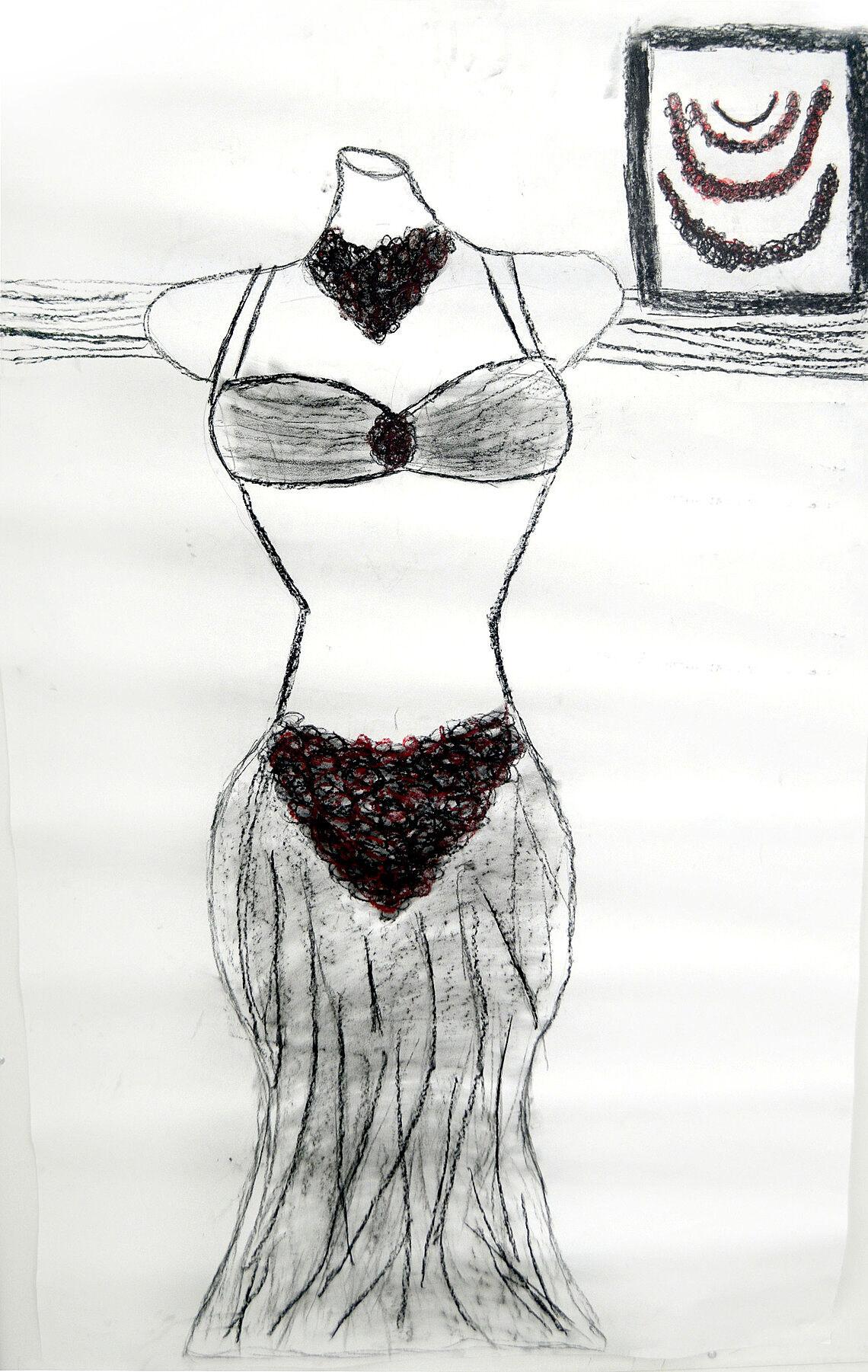 Drawing of a bikini-style dress.