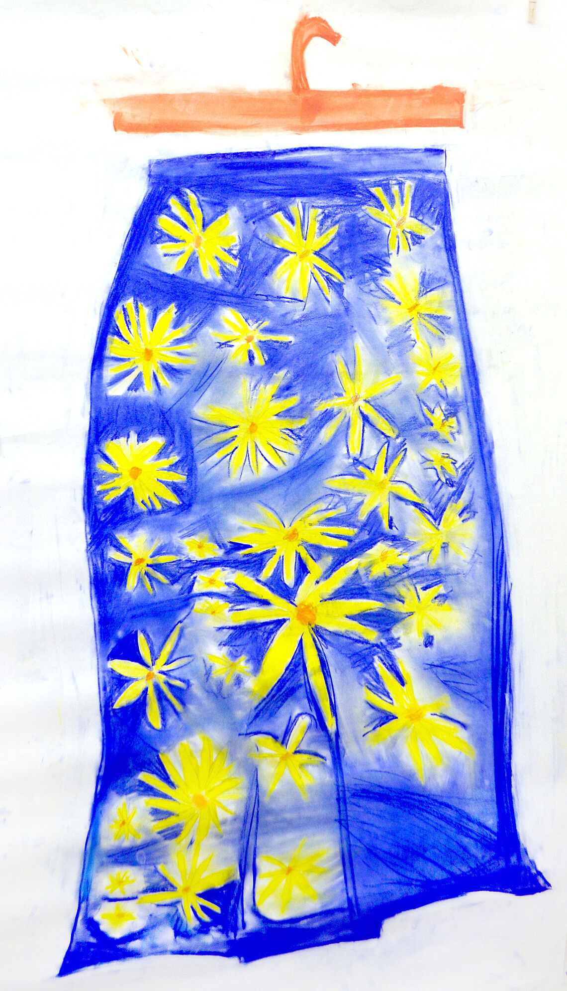 A drawing of a blue skirt with yellow flowers on it.