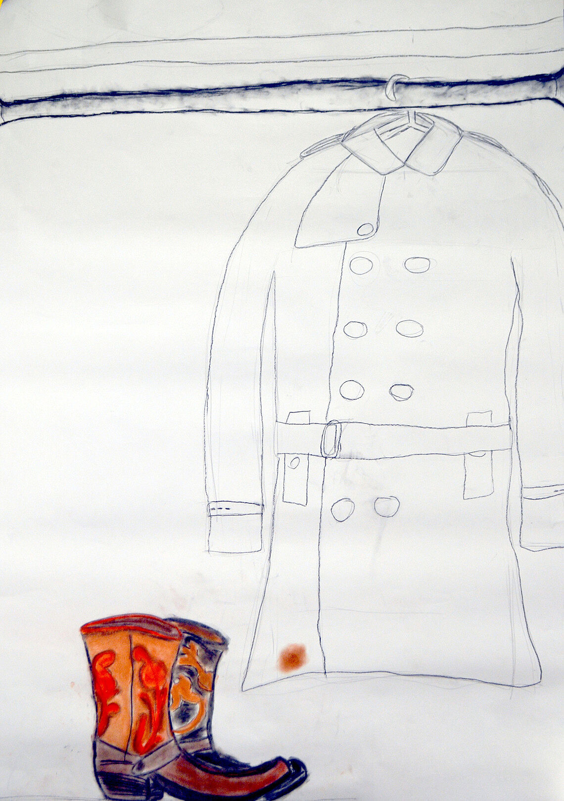 Drawing of a brightly colored pair of boots with a trenchcoat behind it.