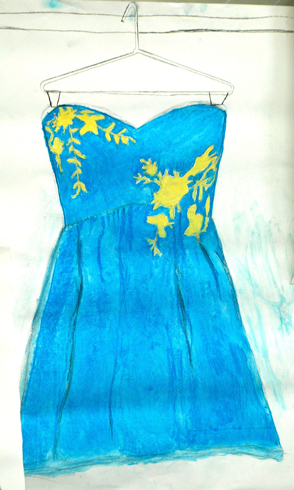 Drawing of a blue dress with yellow patterns on it.