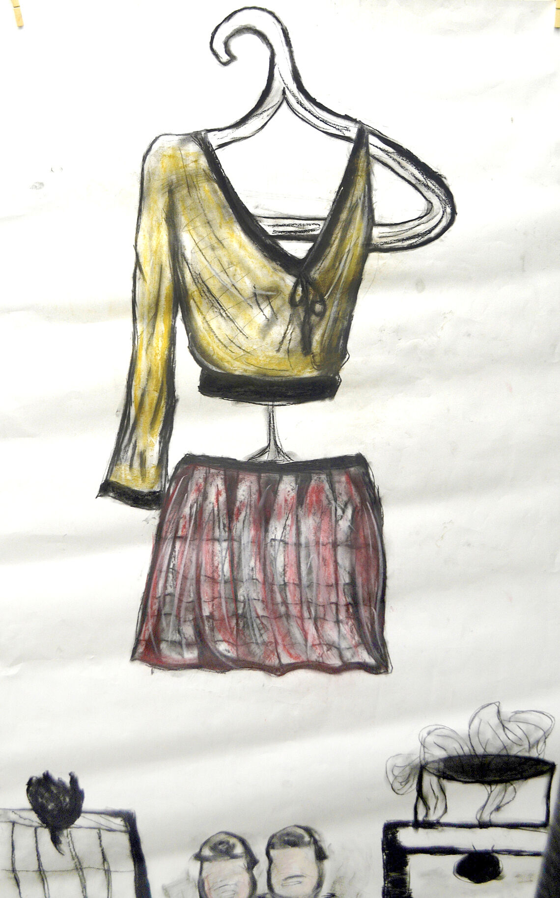 Drawing of an outfit with a gold top and red and black skirt.