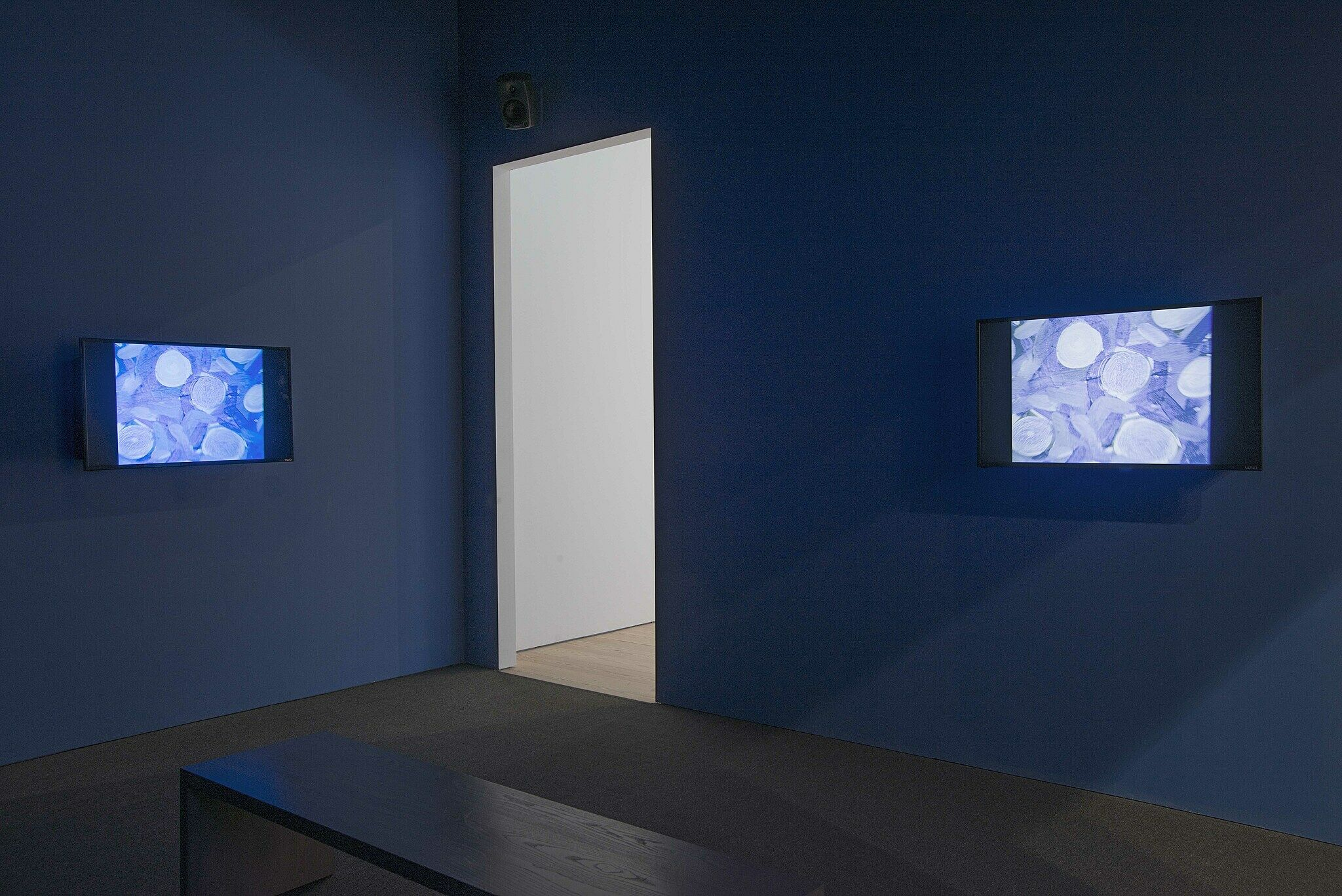 Dark gallery with abstract images on screens on either side of a doorway.