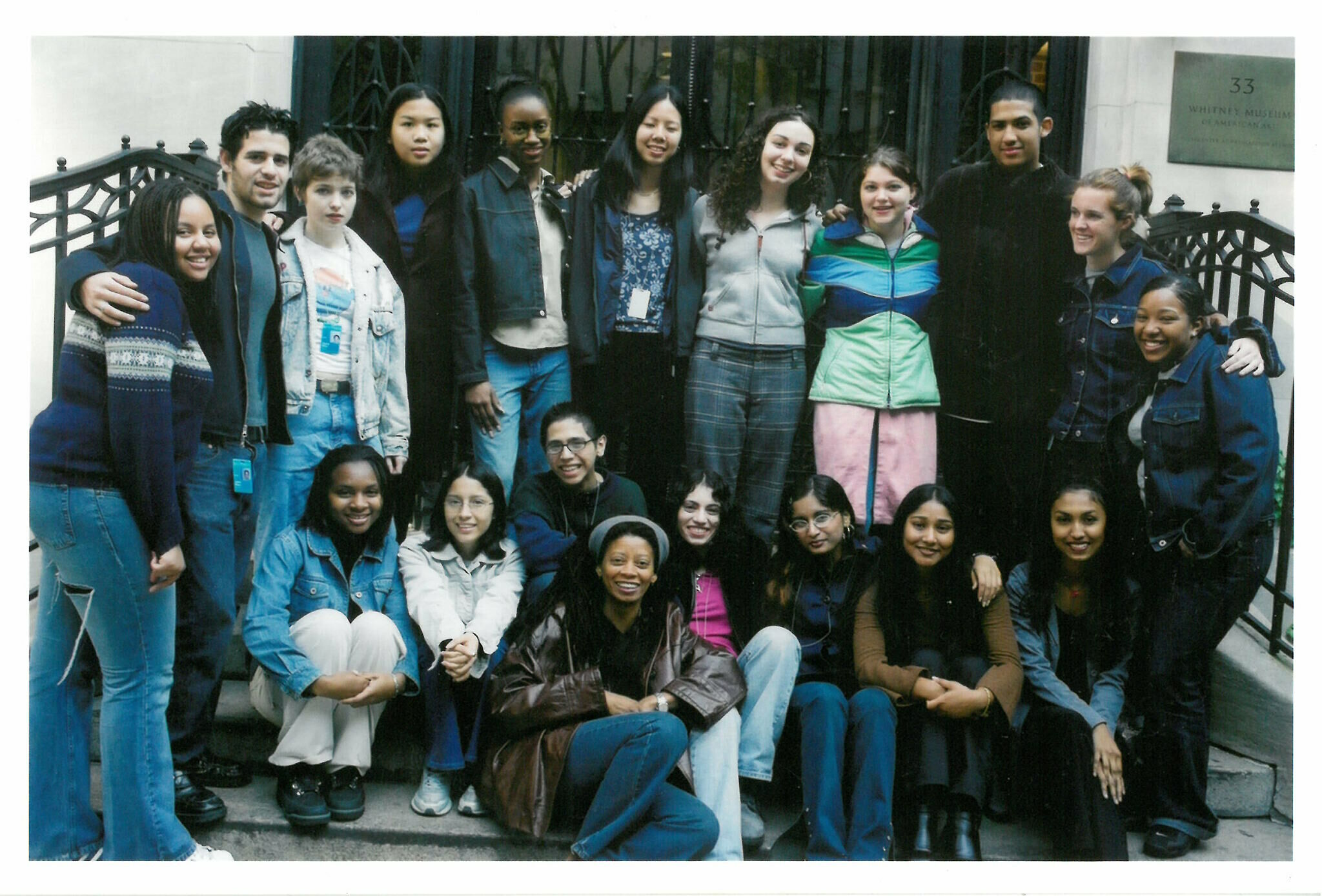 Group photo of Youth Insight Participants at the Whitney Museum in 2001-2002.