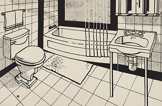 A pop art rendition of a bathroom.