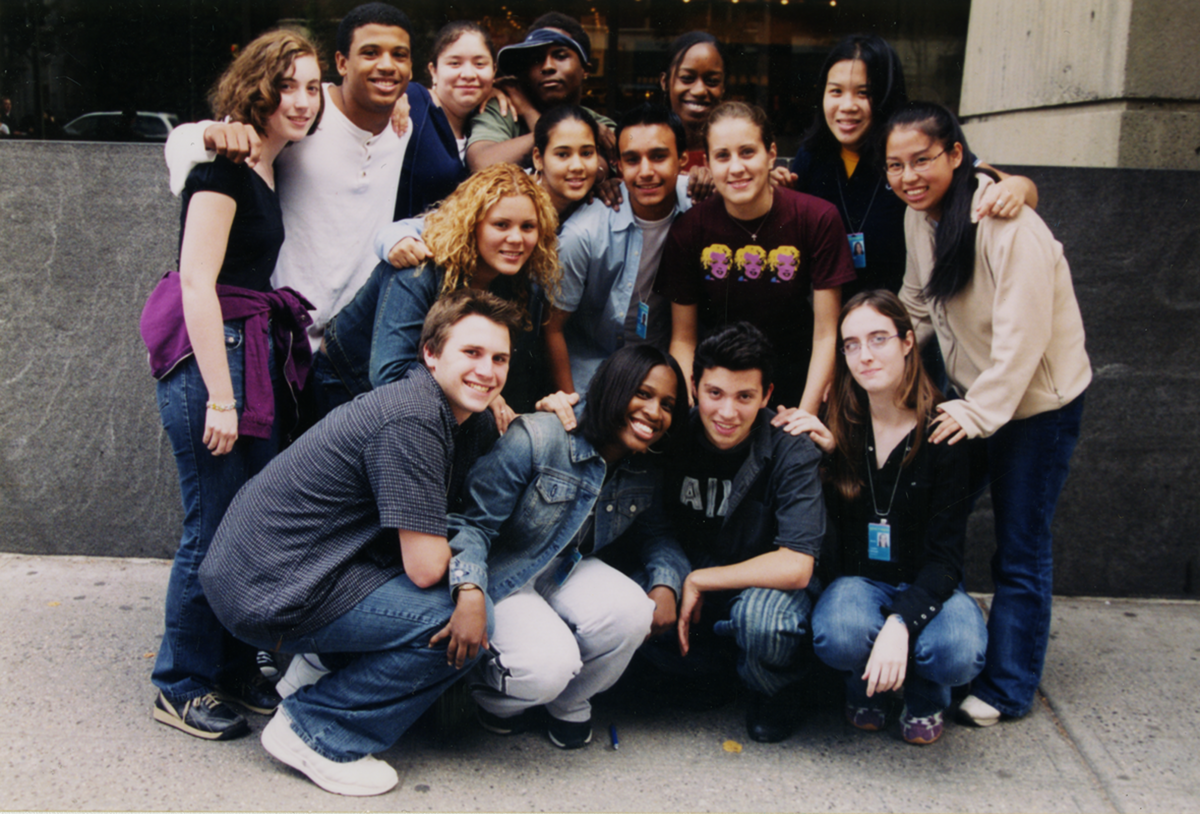 Group photo of Youth Insight Participants at the Whitney Museum in 2003-2004.
