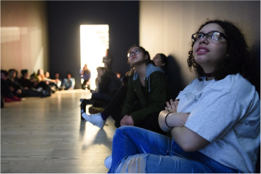 Clinton students gaze up in galleries