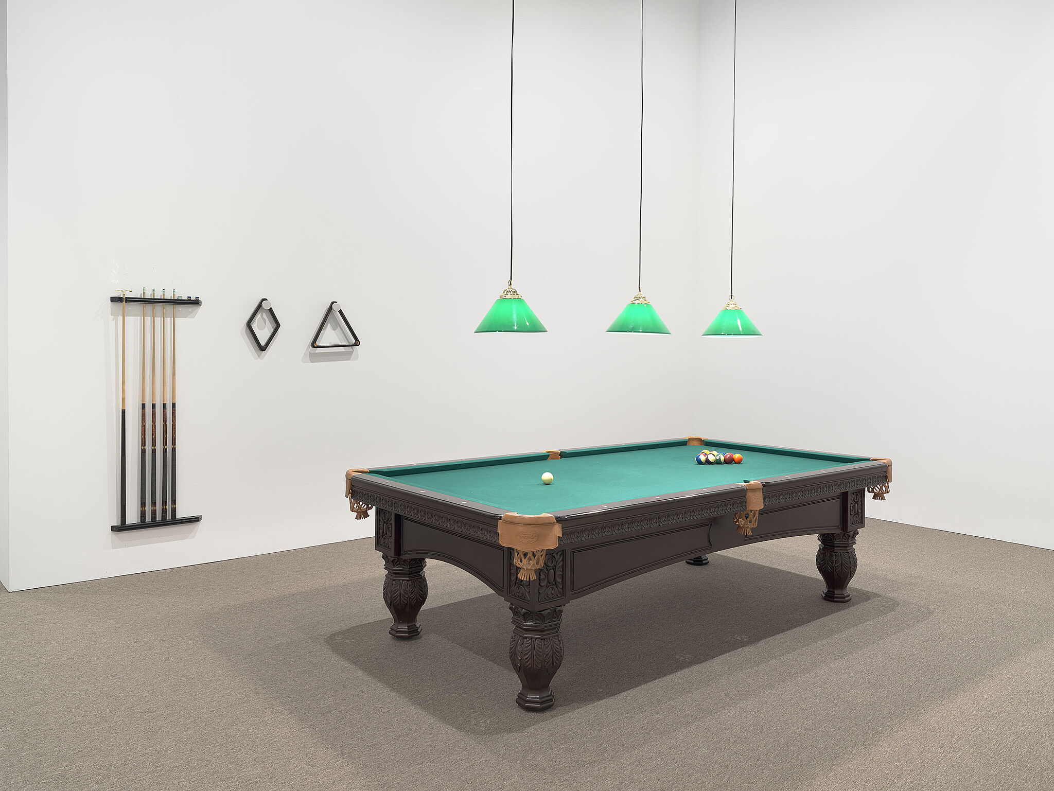 "Installation view of Oiticica's piece Appropriation—Snooker Room, after Van Gogh's ""Night Café"", featuring a pool table a it's fixtures"