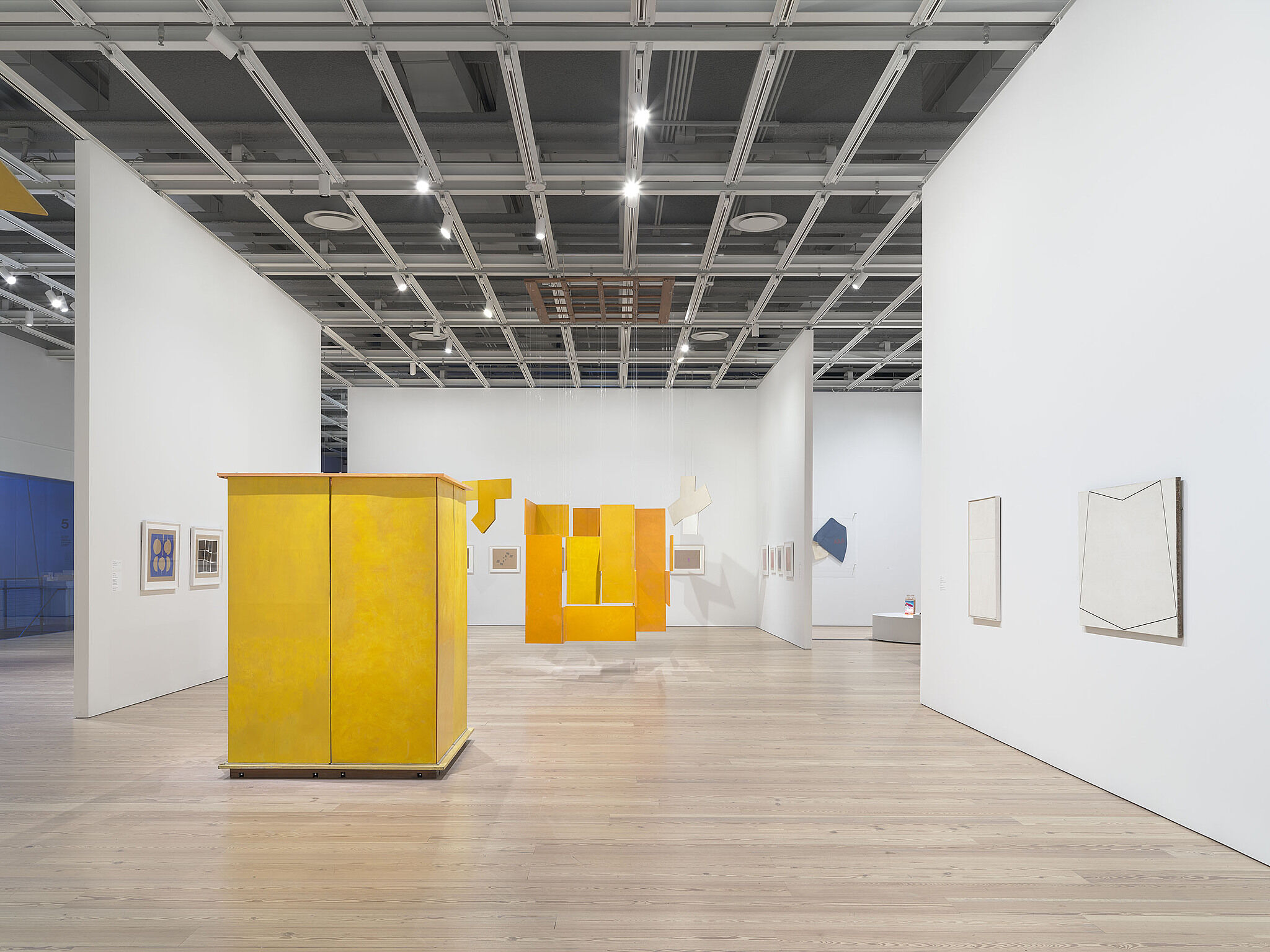 Installation view of Oiticica's exhibition, yellow boxes