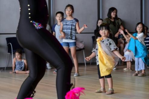 A kid watches a dancer move