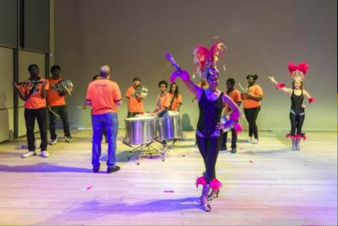 A samba dancer poses