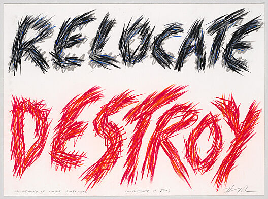 "Handwritten text that says ""Relocate Destroy"" in black and red."