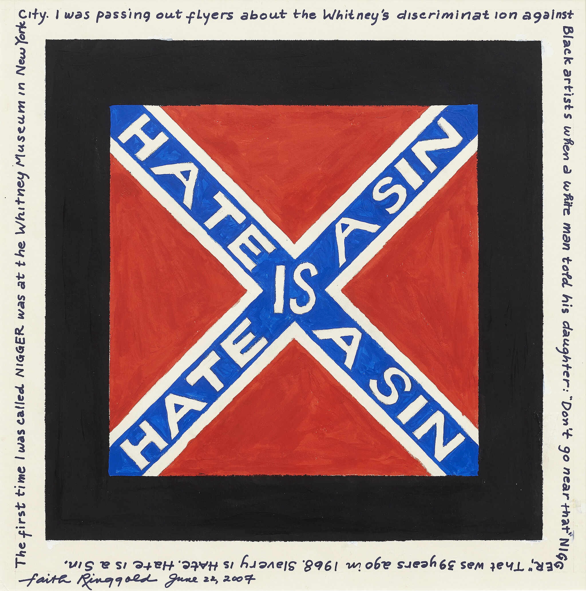 """Hate is a sin"" text written in white on a blue cross, with a red background."